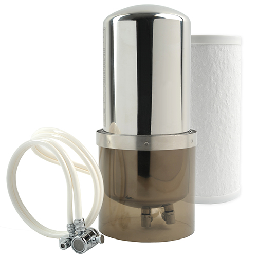 "SKU# MP880SC   The Aquaperform features a stainless steel housing and is designed for additional contaminant reduction performance, adding Arsenic V to its list of filtered contaminants. This unit sits on your counter next to the sink with an included acrylic base. It connects to your existing faucet using a dual-hose diverter valve that allows you to easily switch from filtered to unfiltered water.   The countertop Aquaversa is generally intended for use where below-sink installation restrictions are present (e.g., apartment use or lack of below-sink space), although it can be converted for below sink use with additional parts.   • Housing: 11""h x 5.75""w  • Filter Capacity: 600 gallons   Compatible Replacement Filter: CB11As"